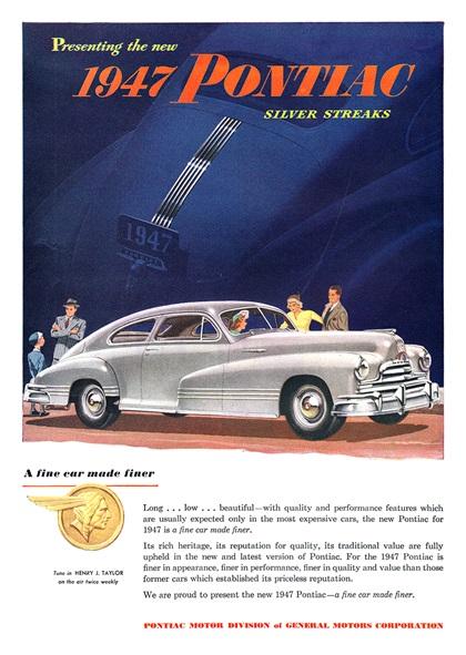 Original Print Ad 1946 New Pontiac 2 Door Sedan Gm Silver Streaks Auto Advertising