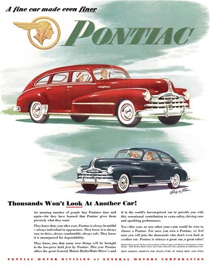 Pontiac Advertising (1948): A fine car made even finer