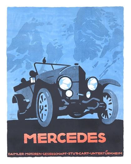 Mercedes Advertising Art by Ludwig Hohlwein (1914)