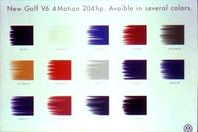 2000 Volkswagen Golf V6 - Colors