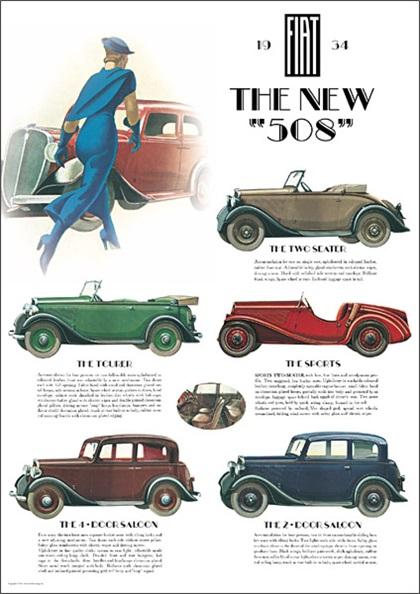 Fiat 508 (1934): Art Deco Poster by Marcello Dudovich