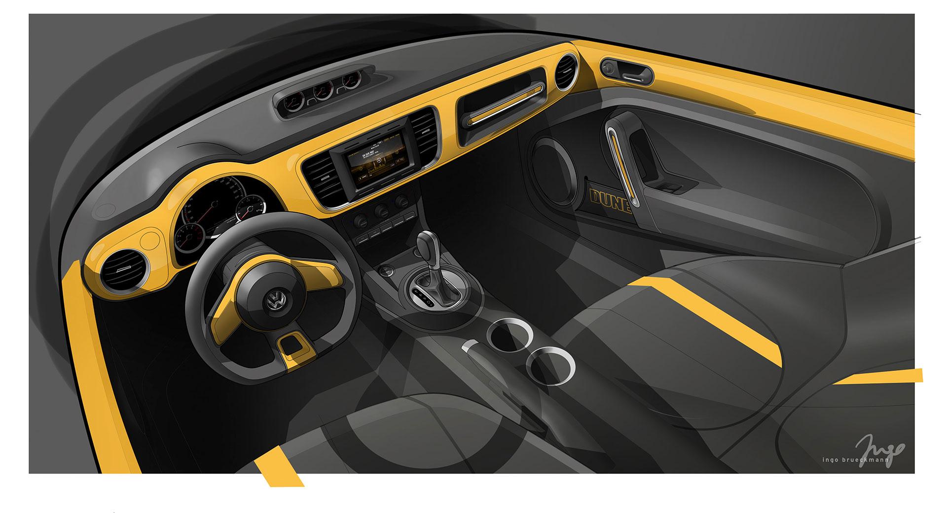 Volkswagen Beetle Dune, 2014 - Interior Design Sketch
