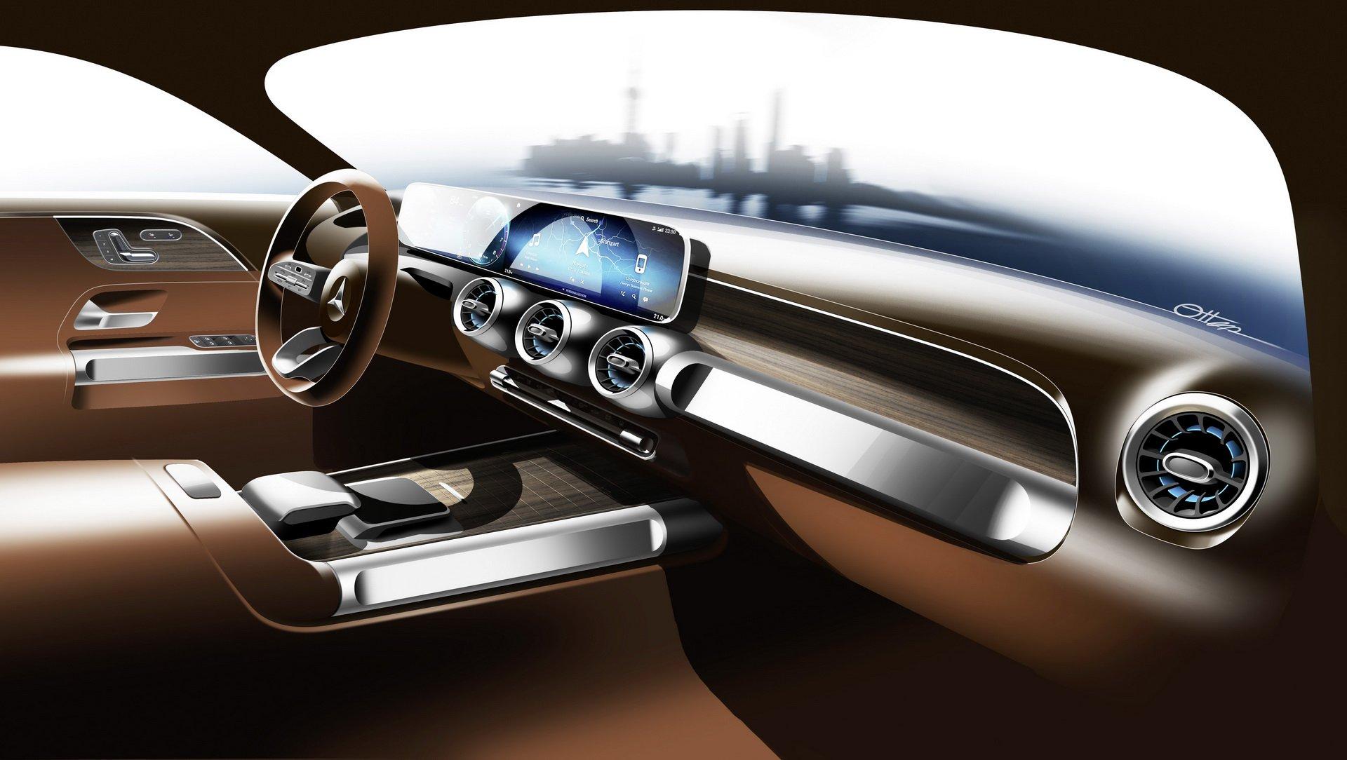 Mercedes benz concept glb 2019 design sketch interior
