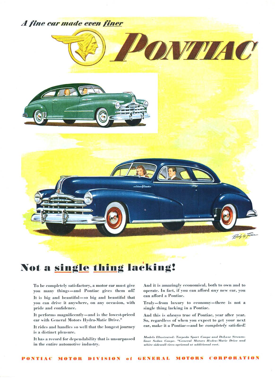 Pontiac Advertising Campaign 1948 A Fine Car Made Even